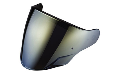 Mirrored gold anti-scratch visor with pins