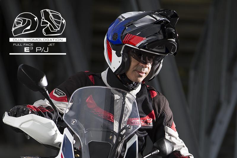 Dual homologation P/J: safe and practical flip-up helmets
