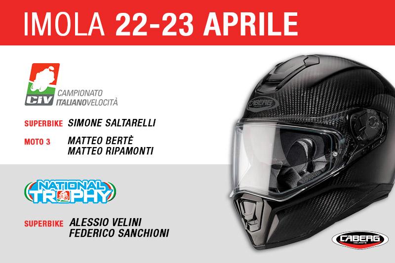 CIV e National Trophy: si parte il 22-23 aprile da Imola! Ecco tutti i piloti Caberg!